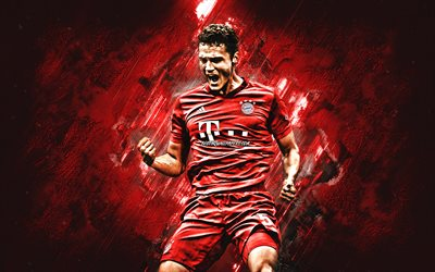 Benjamin Pavard, FC Bayern Munich, french footballer, porter, red stone background, Bundesliga, Germany, football