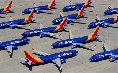 Boeing 737 MAX, Southwest Airlines, passenger aircraft, airport, passenger airlines, Boeing 737, aircraft, Boeing