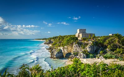 Quintana Roo, 4k, Yucatan Island, beautiful nature, Caribbean Sea, Tulum, Mexico