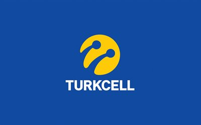 Turkcell logo, blue background, Turkish telecommunications, Turkcell emblem, Turkey, Turkcell