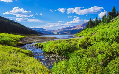 Rocky Mountains, 4k, summer, lake, beautiful nature, Colorado, America, USA, american nature