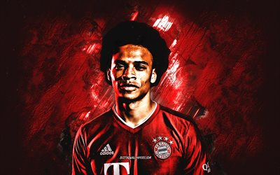 Leroy Sane, FC Bayern Munich, german football player, portrait, red stone background, Bundesliga, football, Germany, Bayern Munich