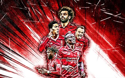 4k, Mohamed Salah, Sadio Mane, Roberto Firmino, Divock Origi, grunge art, Liverpool FC, football stars, Premier League, Liverpool team, red abstract rays, soccer, LFC