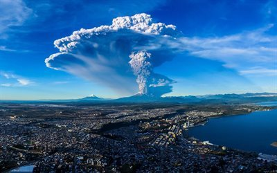 calbuco volcano, eruption, llanquihue lake, chile
