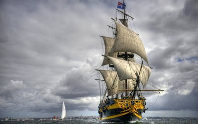 sailboat, sea, french frigate