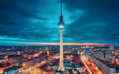 Berlin TV Tower, Germany, Berlin, Evening