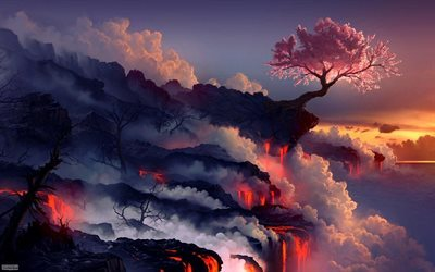 hot lava, rock, tree