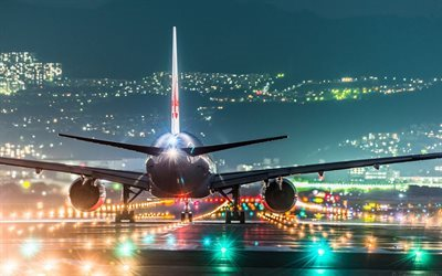 lights, plane, night airport, landing