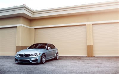 BMW M3, 2016, F80, gray BMW, silver wheels, tuning M3