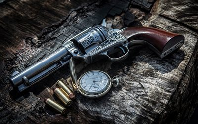 engraved weapons, revolver, pocket watch, cartridges