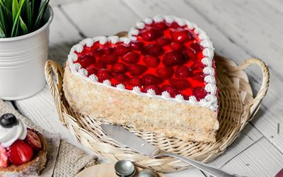heart cake, dessert, cake, cake with strawberries