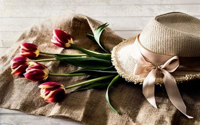 flowers, tulips, straw hat, vintage