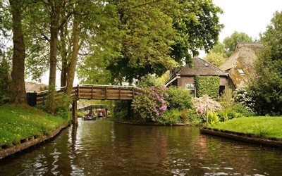 channel, bridge, giethoorn, netherlands