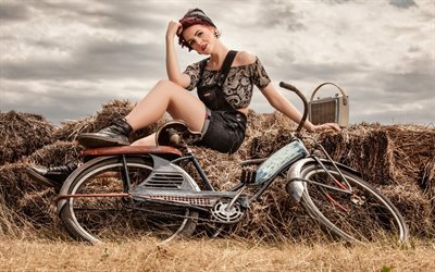 girl, old bike, hay