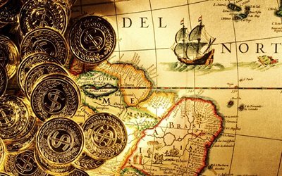 gold coins, map, texture