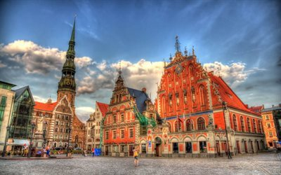 town hall square, house of blackheads, riga, latvia