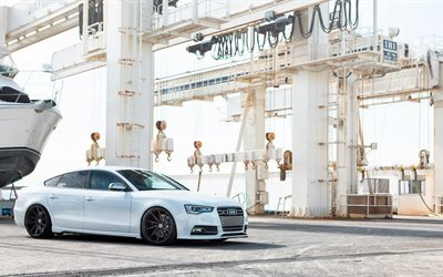 Audi S4, 2016, white Audi, black wheels, tuning Audi, white S4
