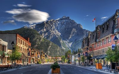 alberta, banff, rocky mountains, city, canada
