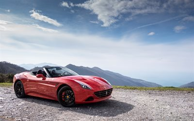 Ferrari California T, Handing Speciale, 2016, red Ferrari, convertible Ferrari, mountains