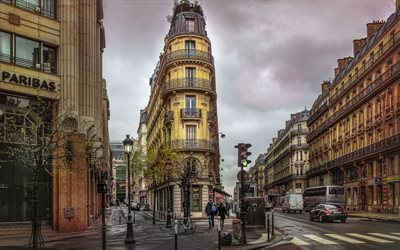 street, old quarter, stop light, paris