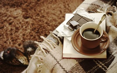 plaid, book, a cup of coffee, comfort
