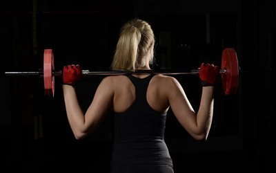 fitness, gym, workout, exercise, barbell, woman with barbell
