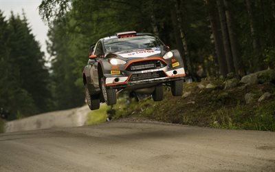 WRC, Ford Fiesta, Rally, race, car jumping, flying cars