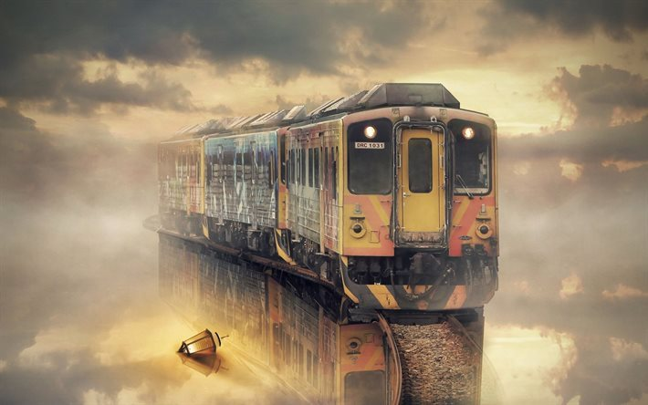 flying dutchman, rails, fog, train