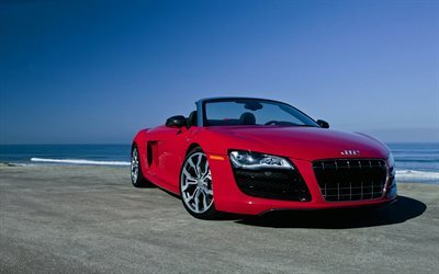 audi r8, red Audi, red convertible r8, sports cars