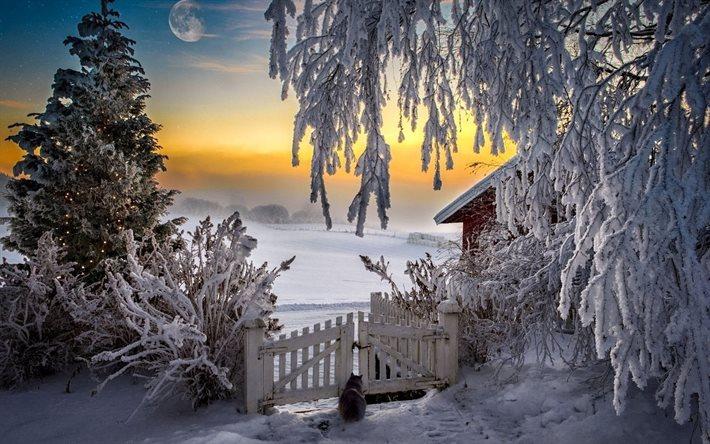 Herunterladen hintergrundbild haus ate sunset winter for Paesaggi invernali per desktop