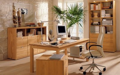 laptop, office, computer, lamp, interior