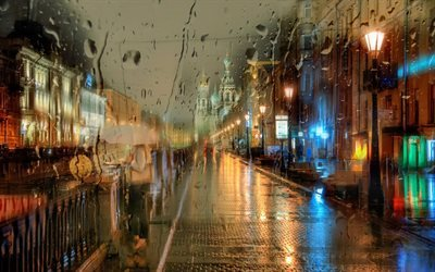 night, city, raindrops