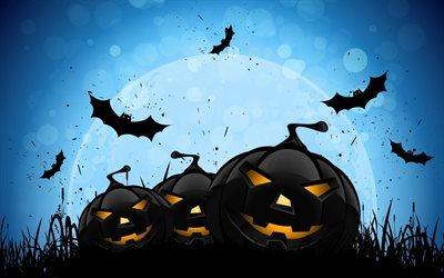 halloween, pumpkins, bats, night, moon
