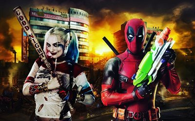 deadpool, harley quinn, characters movies, actors