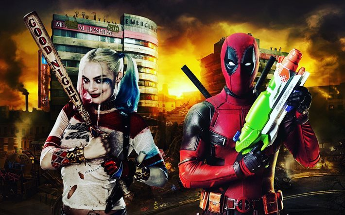Download wallpapers deadpool harley quinn characters movies actors for desktop free pictures - Deadpool harley quinn notebook ...