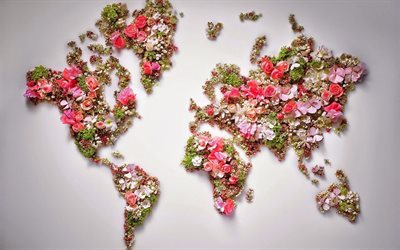 world map, continents, flowers