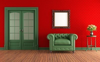 picture, red living room, chair, interior