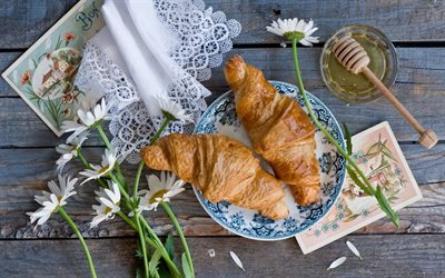 croissants, homemade breakfast, honey, flowers, napkin