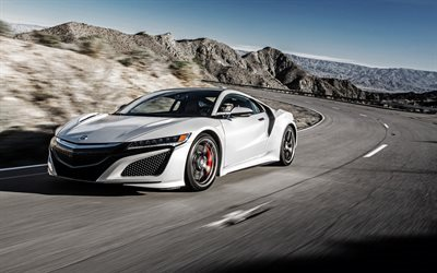 honda nsx, 2017, sports coupe, silver nsx, new Honda, speed