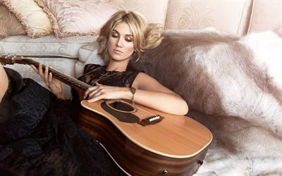 delta goodrem, singer, blonde girl with guitar, black dress