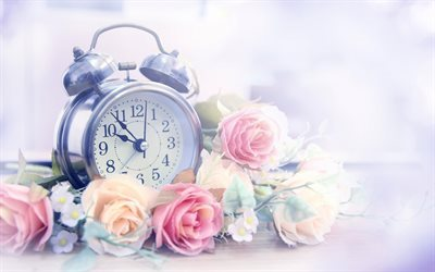 old alarm clock, time, roses