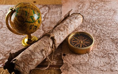 old maps, globe, compass