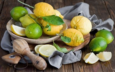 napkin, bowl, wooden board, lemons