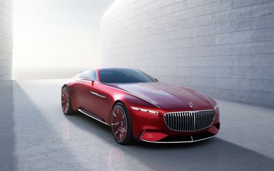 Mercedes-Benz, Vision Maybach 6, 2016, Concept, Luxury car, red Mercedes, coupe