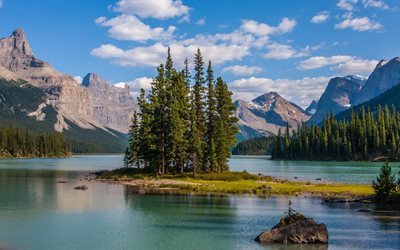 a small island, alberta, lake malign, rocky mountains, canada