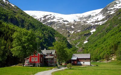 forest, cottage, mountains, municipality of odda, norway