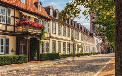 old houses, stone pavement, halberstadt, germany