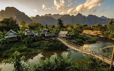 bridge, asia, vang vieng, village, laos