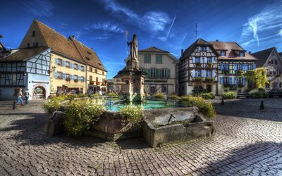 fountain, alsace, old square, france