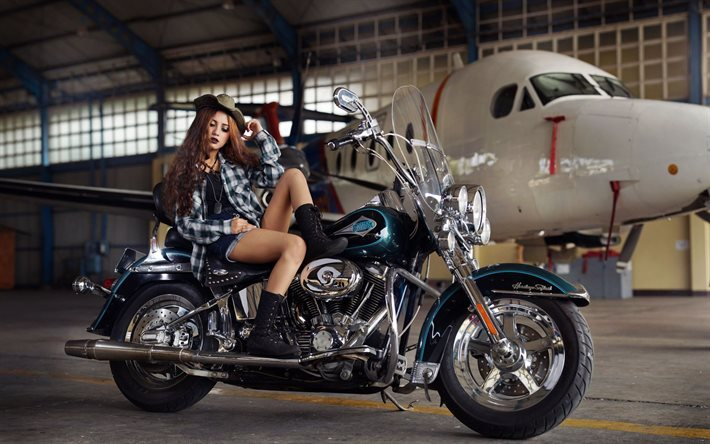 Download wallpapers motorcycle plane hangar girl harley motorcycle plane hangar girl harley davidson sciox Image collections